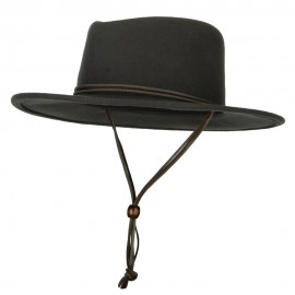 Unisex Wool Felt Leather Chin Cord Pinched Crown Fedora Hat
