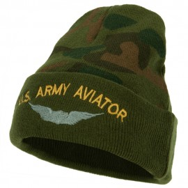 US Army Aviator Logo Embroidered Camo Knit Long Cuff Beanie