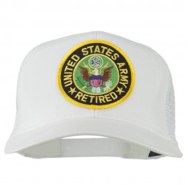 US Army Retired Circle Patched Mesh Cap - White