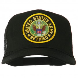 US Army Retired Circle Patched Mesh Cap - Black