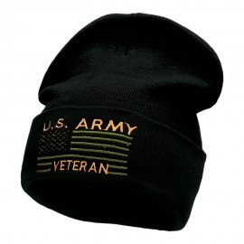 U.S. Army Veteran Embroidered Long Knitted Beanie