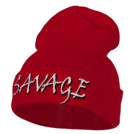 Savage Embroidered Long Knitted Beanie