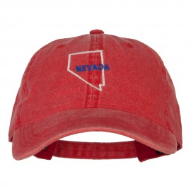 Nevada with Map Outline Embroidered Washed Cotton Twill Cap