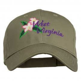 USA State West Virginia Flower Embroidered Low Profile Cap