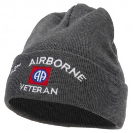 82nd Airborne Veteran Logo Embroidered 12 Inch Long Knitted Beanie