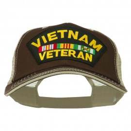 Vietnam Veteran Patched Big Size Washed Mesh Cap - Brown Beige