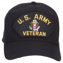 US Army Veteran Military Patched 5 Panel Cap - Black