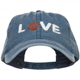 Love with Paw Symbol Embroidered Washed Cotton Cap