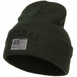 Veteran USA Flag Embroidered Long Beanie