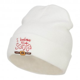 I Believe In Santa Embroidered Long Beanie - White