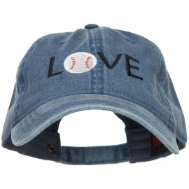 Love with Baseball Embroidered Washed Cotton Cap