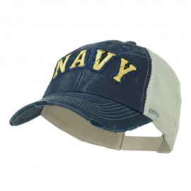 US Military Applique Vintage Mesh Frayed Cap