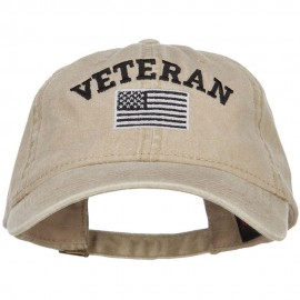 Veteran Flag Embroidered Washed Cap - Khaki