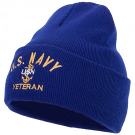 USN Veteran Military Logo Embroidered 12 Inch Long Knitted Beanie
