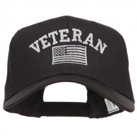 Veteran Silver Flag Embroidered Twill Cap - Black