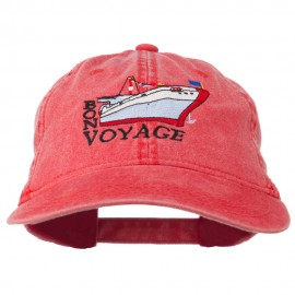 Bon Voyage Ship Embroidered Washed Cap