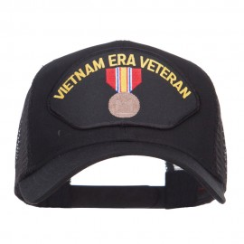 Vietnam ERA Veteran Patched Mesh Cap - Black