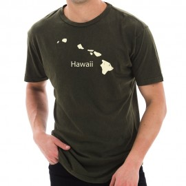 Hawaii Vintage Map Graphic Design Unisex Cotton Short Sleeve T-Shirt