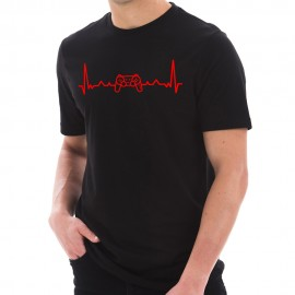 Video Game Contoller Heartbeat Graphic Short Sleeve Cotton Jersey T-Shirt