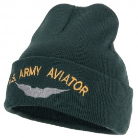 US Army Aviator Logo Embroidered 12 Inch Long Knitted Beanie