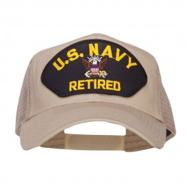 US Navy Retired Military Patched Mesh Back Cap - Khaki