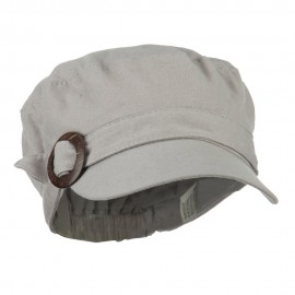Viscose Linen Army Cap with Coconut Buckle Accent