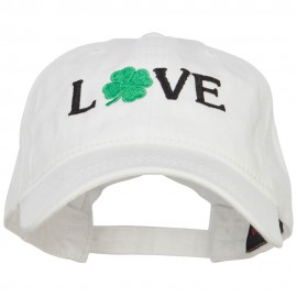 Love with Shamrock Embroidered Washed Cotton Cap