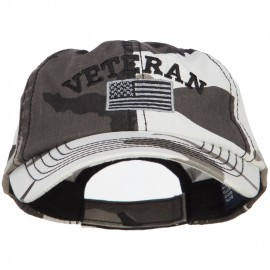 Veteran Letters with Silver USA Flag Embroidered Enzyme Camo Cap