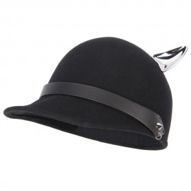 Women's Silver Metal Ear Accent Wide Band Detailed with Chain Wool Newsboy Cap