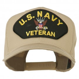 US Navy Veteran Military Patched High Profile Cap - Khaki