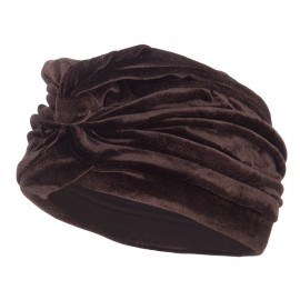 Women's Velvet Turban Hat - Brown
