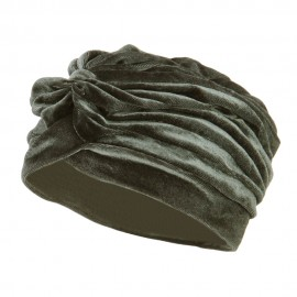 Women's Velvet Turban Hat - Silver