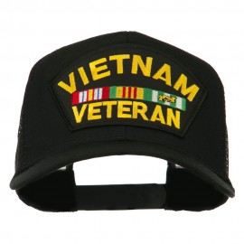 Vietnam Veteran Military Patched Mesh Back Cap - Black