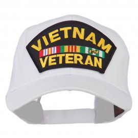 Vietnam Veteran Military Patched Mesh Back Cap - White
