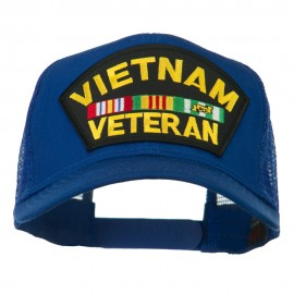 Vietnam Veteran Military Patched Mesh Back Cap - Royal