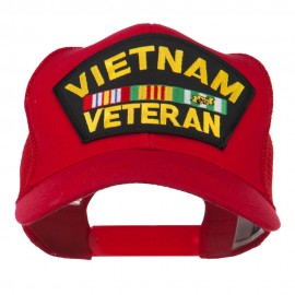 Vietnam Veteran Military Patched Mesh Back Cap - Red