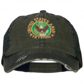 US Army Veteran Circle Logo Embroidered Low Profile Cotton Mesh Cap
