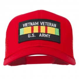 Vietnam Army Veteran Patched Mesh Cap - Red