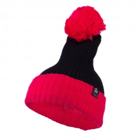Two Tone Vertical Ribbed Pom Beanie - Black Fuchsia