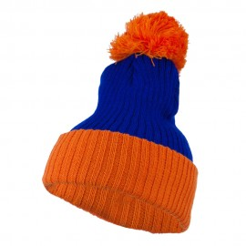 Two Tone Vertical Ribbed Pom Beanie - Royal Orange