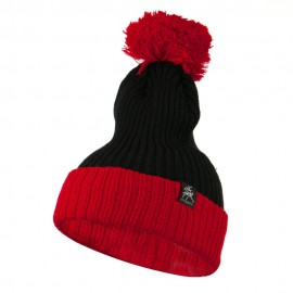 Two Tone Vertical Ribbed Pom Beanie - Black Red