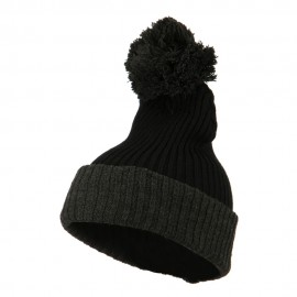 Two Tone Vertical Ribbed Pom Beanie - Black Charcoal