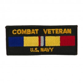Veteran Rectangle Embroidered Military Patch - Combat Navy