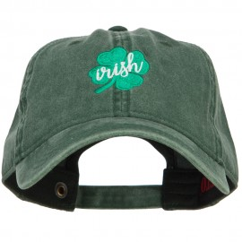 Clover Irish Embroidered Washed Buckled Cap