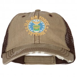 US Air Force Veteran Circle Embroidered Low Profile Cotton Mesh Cap