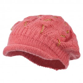 Rolled Brim Tam Beret with Gold Chains - Coral