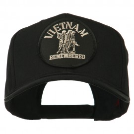 Vietnam Remembered Military Patched High Profile Cap - Black