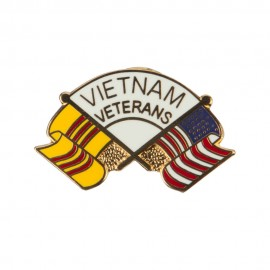 Vietnam Veteran Cloisonne Military Pins - White