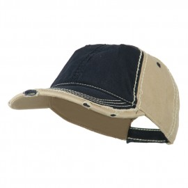 Vintage Washed Cotton Twill Frayed Bill Cap - Navy