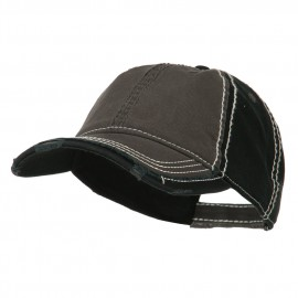 Vintage Washed Cotton Twill Frayed Bill Cap - Charcoal